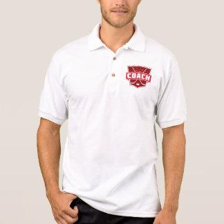 ホッケーコーチのレトロのスタイルの盾 ポロシャツ