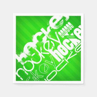 ホッケー; ネオン緑のストライプ スタンダードカクテルナプキン