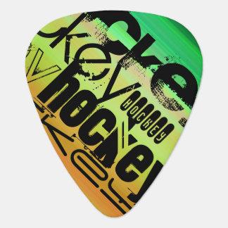 ホッケー; 鮮やかな緑、オレンジ、及び黄色 ギターピック