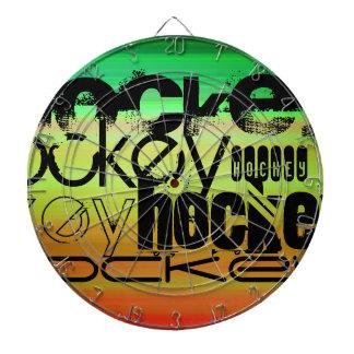 ホッケー; 鮮やかな緑、オレンジ、及び黄色 ダーツボード