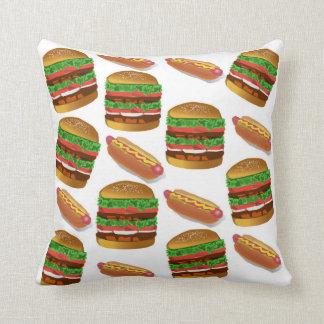 ホットドッグおよびハンバーガーの枕 クッション