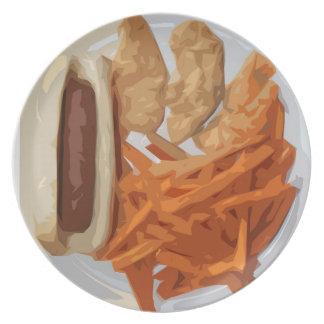 ホットドッグおよび揚げ物および鶏のプレート2 プレート
