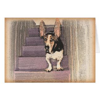 ホッピングのバセット犬のnotecard カード