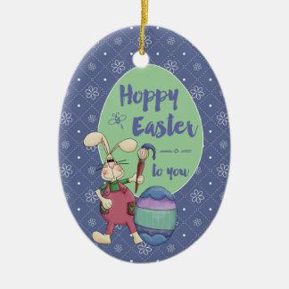ホップの豊富なイースターのウサギの芸術家の絵画の卵の習慣年 陶器製卵型オーナメント