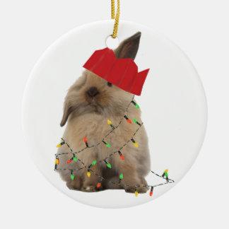 ホップの豊富なクリスマスのバニーの装飾 陶器製丸型オーナメント