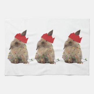 ホップの豊富なクリスマスのバニーTeatowel キッチンタオル