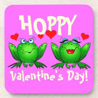 ホップの豊富なバレンタインデーのかわいい漫画のカエルのコースター コースター