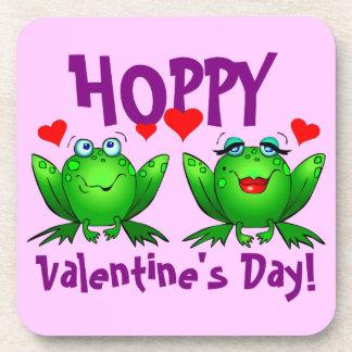 ホップの豊富なバレンタインデーの漫画の幸せなカエルのコースター コースター