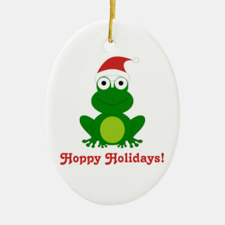 ホップの豊富な休日のサンタのカエルのクリスマスのオーナメント 陶器製卵型オーナメント