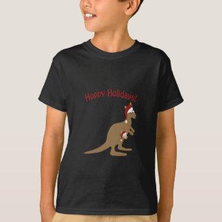 ホップの豊富な休日! クリスマスのカンガルー Tシャツ