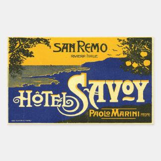 ホテルのサヴォイ(San Remoイタリア) 長方形シール