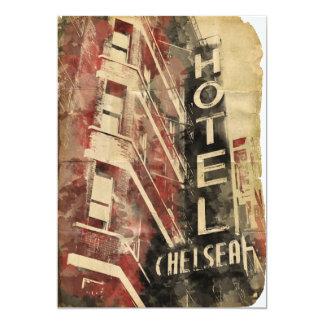 ホテルのチェルシーNYCのヴィンテージの水彩画の招待状 カード