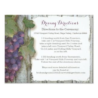ホテルの車の経路案内のワイナリーのブドウ園のブドウ カード