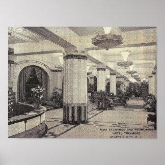 ホテルのTraymoreのロビー、アトランティック・シティのNJのヴィンテージ ポスター