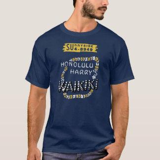 ホノルルハリーWaikiki (前部および背部) Tシャツ