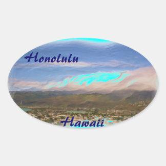 ホノルルハワイのステッカー 楕円形シール