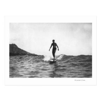 ホノルルハワイLongboardのサーファーのサーフ ポストカード