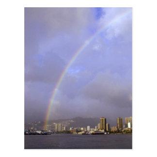 ホノルル、ハワイ、米国上の虹 ポストカード