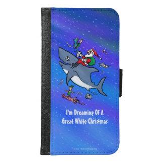 ホホジロザメのおもしろいなクリスマスの夢を見ること GALAXY S6 ウォレットケース