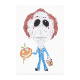ホラー映画の風刺漫画の連続殺人犯のキャンバス キャンバスプリント