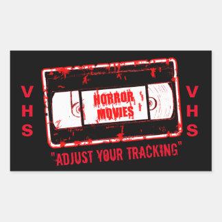 ホラー映画-ビデオカセットはあなたの追跡を調節します 長方形シール