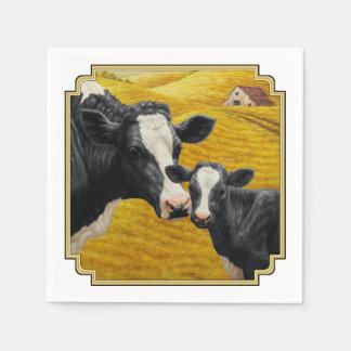 ホルスタイン牛および古い木製の納屋 スタンダードカクテルナプキン
