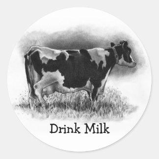 ホルスタイン牛: オリジナルの鉛筆のスケッチ: 酪農場 ラウンドシール