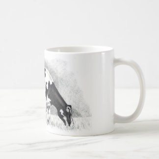 ホルスタイン牛: 鉛筆のスケッチ: 農場、国 コーヒーマグカップ