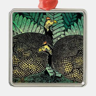 ホロホロチョウの笠松町のshiroの鳥の葉の日本人の芸術 メタルオーナメント