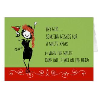 ホワイトクリスマスのおもしろいな姉妹関係のクリスマスカード カード