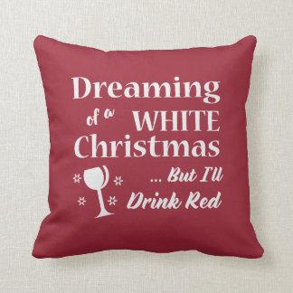 ホワイトクリスマスのワイン愛好家の装飾用クッション-休日 クッション