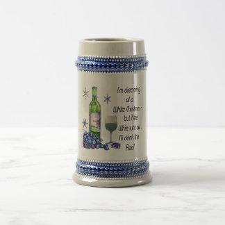 ホワイトクリスマスの夢を見ます、おもしろいなワインの芸術のギフト ビールジョッキ