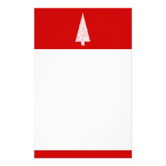 ホワイトクリスマスの木。 赤。 現代 便箋