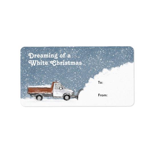 ホワイトクリスマスの除雪車のギフトのラベルの夢を見ること ラベル