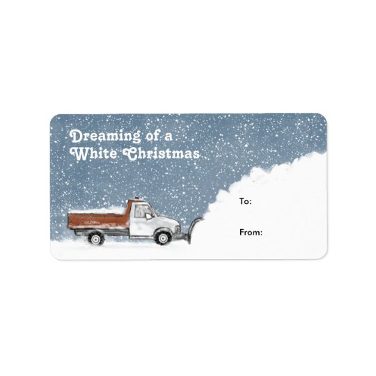 ホワイトクリスマスの除雪車のギフトのラベルの夢を見ること 宛名ラベル