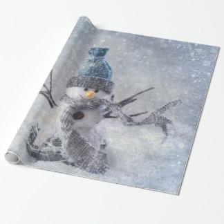 ホワイトクリスマスの雪だるま ラッピングペーパー