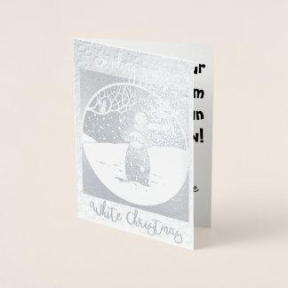 ホワイトクリスマスホイルカードを送ります 箔カード