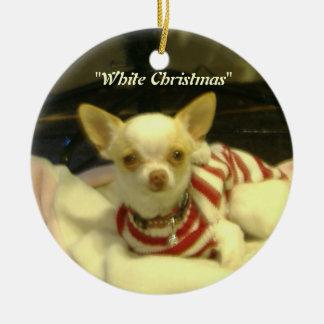 """""""ホワイトクリスマス""""のチワワの木のオーナメント セラミックオーナメント"""