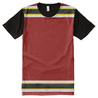 ホワイトゴールドおよび黒いトリムを持つ(鳥)ショウジョウコウカンチョウ オールオーバープリントT シャツ