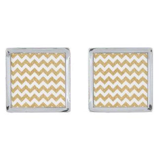 ホワイトゴールドのグリッターのジグザグ形のシェブロンエレガントなパターン シルバー カフスボタン