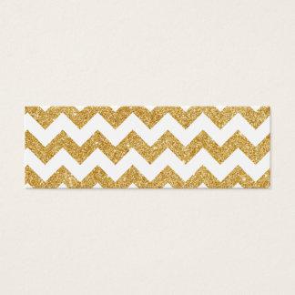 ホワイトゴールドのグリッターのジグザグ形のシェブロンエレガントなパターン スキニー名刺