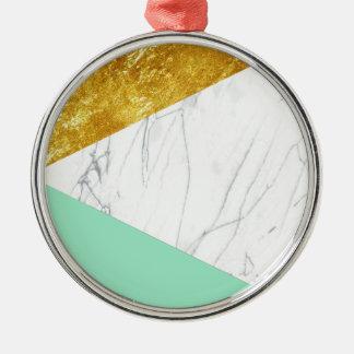 ホワイトゴールドのティール(緑がかった色)の大理石 メタルオーナメント