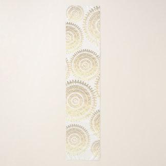 ホワイトゴールドのBohoの種族の円の曼荼羅金属Eff スカーフ