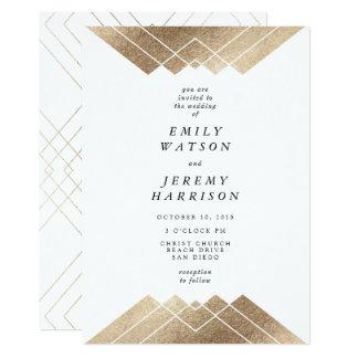 ホワイトゴールドのGatsbyの幾何学的な結婚式招待状 12.7 X 17.8 インビテーションカード