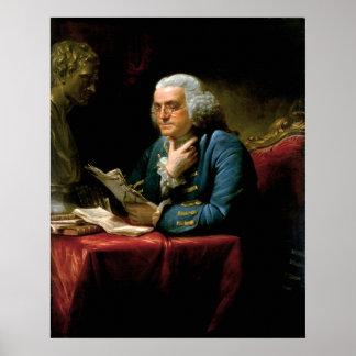 ホワイトハウスからのベンジャミン・フランクリンのポートレート ポスター