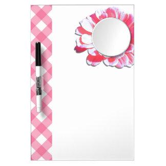 ホワイトボード-ピンクの《植物》百日草及び格子 ミラー付きホワイトボード