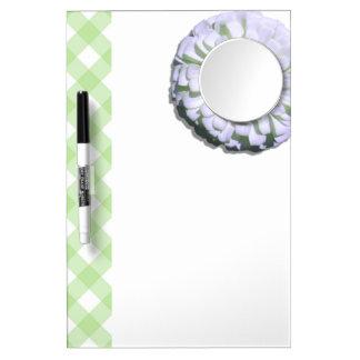 ホワイトボードw/Mirror -レモン味の白い《植物》百日草 ミラー付きホワイトボード