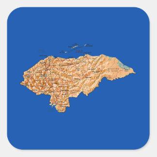 ホンジュラスの地図のステッカー スクエアシール