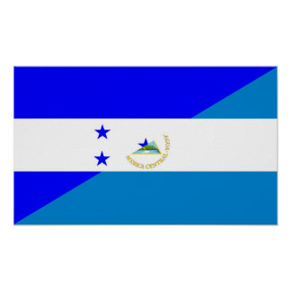 ホンジュラスニカラグアの半分の旗の国の記号 ポスター