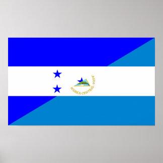 ホンジュラスニカラグアの国の半分の旗 ポスター